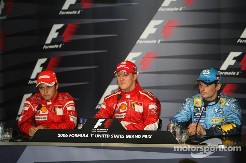 Conférece de presse de la FIA : le vainqueur de la course Michael Schumacher avec Felipe Massa et Giancarlo Fisichella