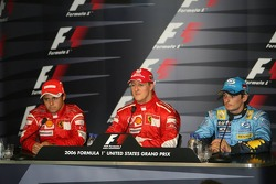 FIA  press conference: race winner Michael Schumacher with Felipe Massa and Giancarlo Fisichella