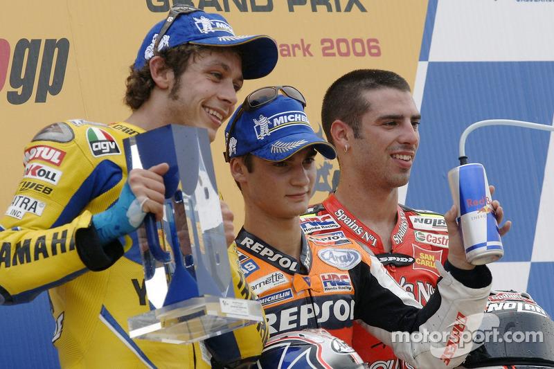 2006: 1. Dani Pedrosa, 2. Valentino Rossi, 3. Marco Melandri