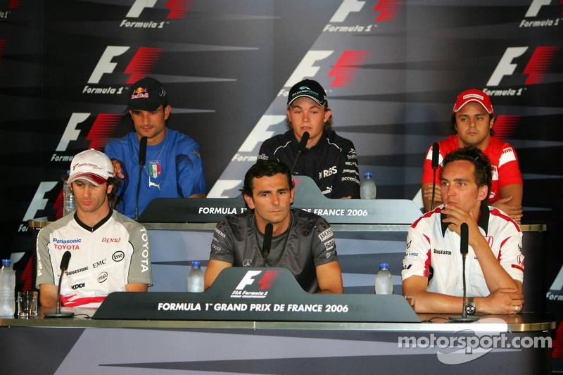 Conférence de presse de la FIA : Jarno Trulli, Pedro de la Rosa, Franck Montagny, Vitantonio Liuzzi, Nico Rosberg et Felipe Massa