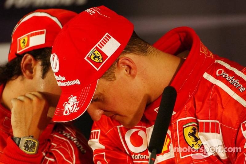 Conférence de presse : le vainqueur de la pole position Michael Schumacher avec Felipe Massa