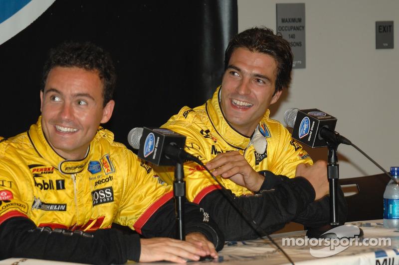 Conférence de presse d'après-course avec Sascha Maassen et Lucas Luhr, en seconde place finale et le