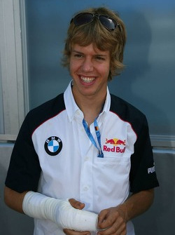 Sebastian Vettel after he had his finger stitched back on after losing it during a crash in Spa during the World Series by Renault race