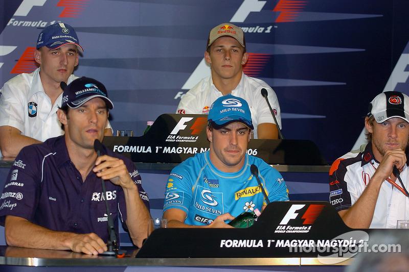 Conferencia de prensa FIA: Mark Webber, Fernando Alonso, Jenson Button, Robert Kubica y Christian Klien