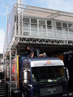 Red Bull Racing team member at work