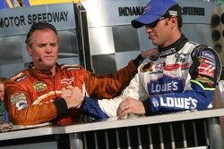 Race winner Jimmie Johnson with Kenny Wallace