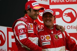 Podium: race winner Felipe Massa with Fernando Alonso and Michael Schumacher