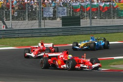Felipe Massa leads Michael Schumacher and Fernando Alonso
