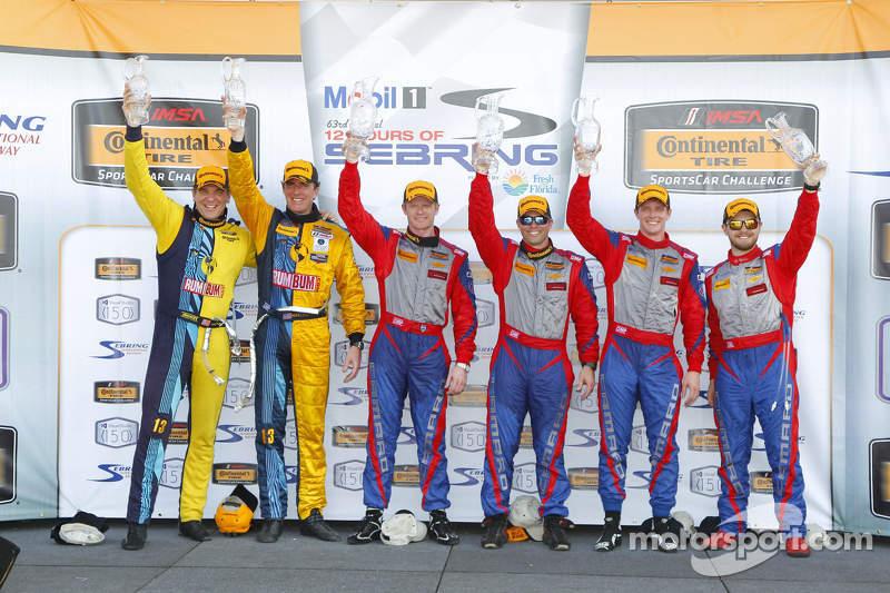 Podium: race winners Robin Liddell, Andrew Davis, Stevenson Motorsports, second place Lawson Aschenbach, Matt Bell, Stevenson Motorsports, third place Matt Plumb, Hugh Plumb, Rum Bum Racing