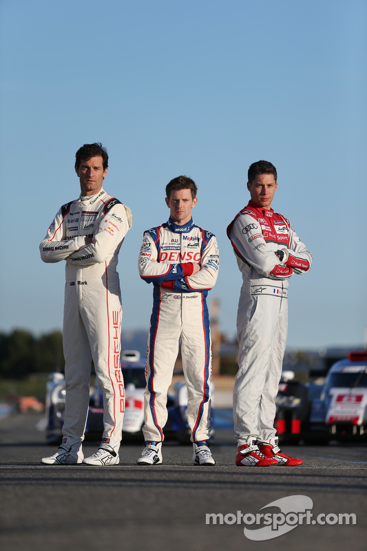 Mark Webber, Porsche Team; Anthony Davidson, Toyota Racing, und Loic Duval, Audi Sport Team Joest
