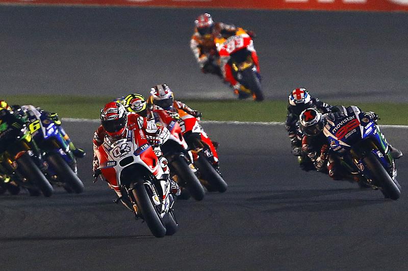 Andrea Dovizioso, Ducati Team dan Jorge Lorenzo, Yamaha Factory Racing dan Andrea Iannone, Ducati Te