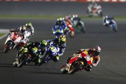 Dani Pedrosa, Repsol Honda Team y Pol Espargaro, Monster Yamaha Tech 3, y Valentino Rossi, Yamaha Factory Racing