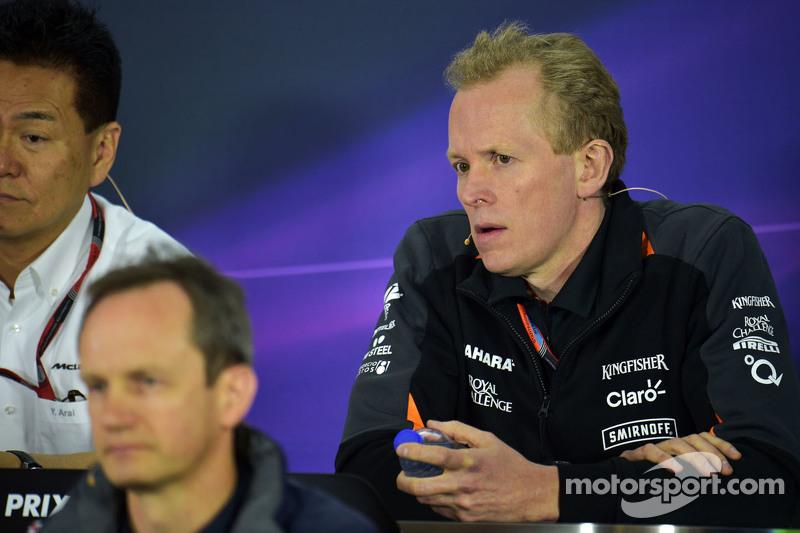 Andrew Green, Director Técnico del Sahara Force India F1 en la conferencia de prensa de la FIA