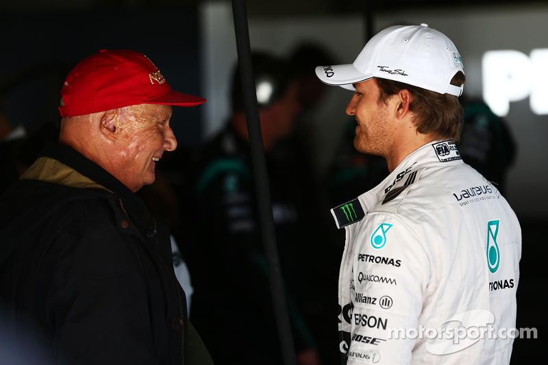 Niki Lauda, Mercedes Non-Executive Chairman with Nico Rosberg, Mercedes AMG F1