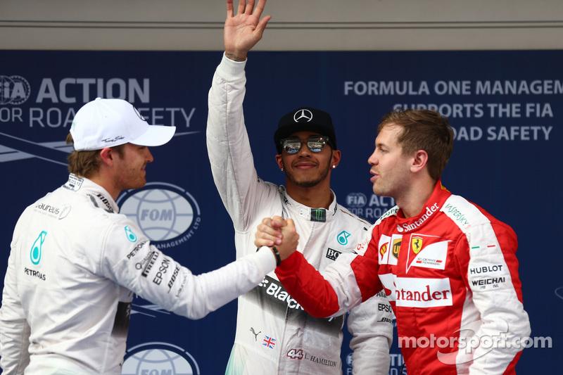 Nico Rosberg, Mercedes F1, Lewis Hamilton, Mercedes F1 y Sebastian Vettel, Ferrari