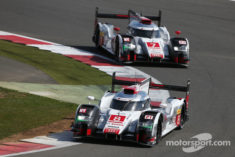 #7 Audi Sport Team Joest, R18 e-tron quattro: Marcel Fässler, André Lotterer, Benoit Tréluyer und #8