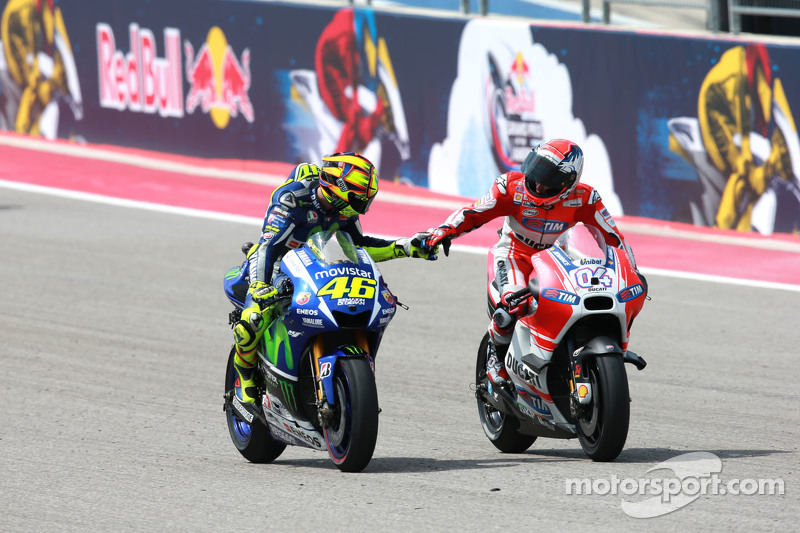 2. Valentino Rossi, Yamaha Factory Racing, und 3. Andrea Dovizioso, Ducati Team