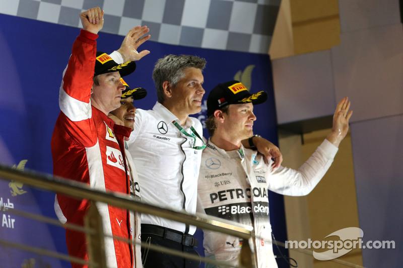 Гран При Бахрейна: 1. Льюис Хэмилтон. 2. Кими Райкконен. 3. Нико Росберг