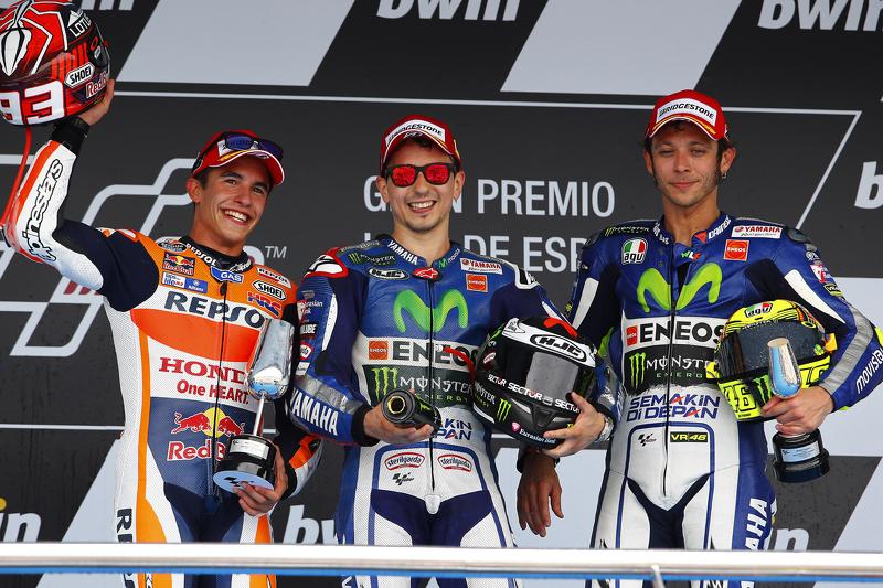 2015 Podio: ganador de la carrera Jorge Lorenzo, el segundo lugar Marc Márquez y el tercer lugar Valentino Rossi