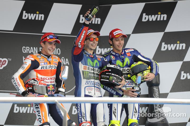 Pódio: 1º Jorge Lorenzo, 2º Marc Márquez, 3º Valentino Rossi