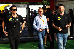 (L to R): Jolyon Palmer, Lotus F1 Team Test and Reserve Driver with Jonathan Palmer, and Matthew Carter, Lotus F1 Team CEO