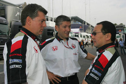 Nick Fry, Yasuhiro Wada, President, Honda Racing Development Chief Executive Officer, and Otmar Szafnauer, Vice President, Honda Racing Development