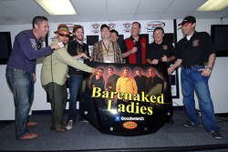 Ed Peper, Chevrolet General Manager, with Richard Childress and Kevin Harvick, present Barenaked Ladies with hood from Kevin Harvick's NASCAR Nextel Cup Barenaked Ladies/Goodwrench #29 Monte Carlo SS