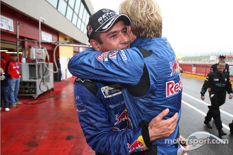 Race winners Karl Wendlinger and Philipp Peter celebrate