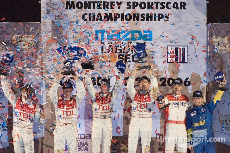 Podium en LMP1 : Rinardo Capello et Allan McNish vainqueurs ; Frank Biela et Emanuele Pirro pour la