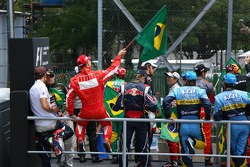 Michael Schumacher with a brazilian flag at the drivers parade
