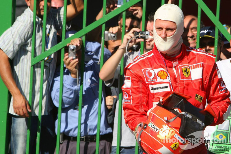 Das war's! Schumacher im Parc Fermé