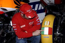 Marco Melandri and a special Michelin tire