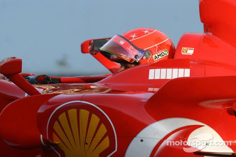 Michael Schumacher dans sa 248 F1 Scuderia Ferrari pour la dernière fois