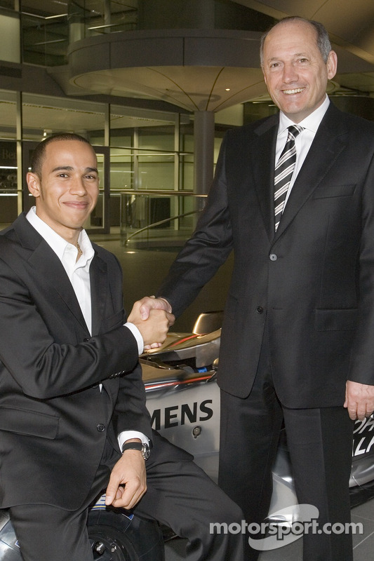 Lewis Hamilton and Ron Dennis at the McLaren Technology Centre