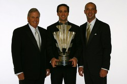 Rick Hendrick, Jimmie Johnson and Chad Knaus pose for a photo with the NASCAR NEXTEL Cup