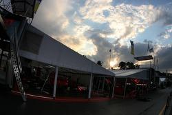 Flying Lizard Motorsports paddock area