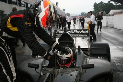 Race winner Jonny Reid celebrates with Nico Hulkenberg