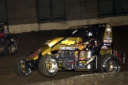 Tony Stewart (20) makes what proves to be the race-winning move around  Shane Cottle (44) in the finale of the Oklahoma Dodge Dealers Championship Saturday feature event
