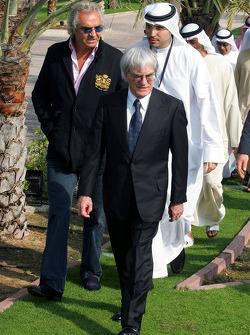 Bernie Ecclestone, Flavio Briatore, Renault F1 Team, Team Chief, Managing Director and His Highness Sheikh Mohammed Bin Zayed Al Nahayan