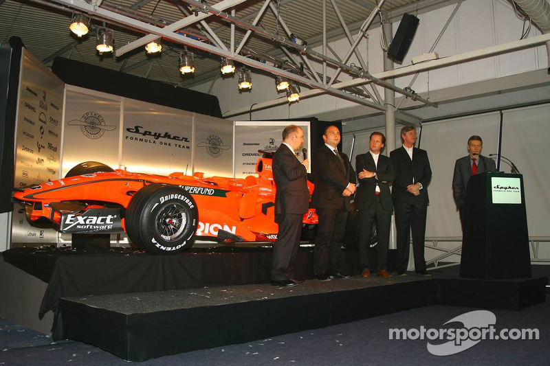 Mike Gascoyne, Spyker F1 Team, Chief Technology Officer, Colin Kolles, Spyker F1 Team, Team Principal, Michiel Mol, Director of Formula One Racing, Spyker and Spyker F1 Team and Victor Muller, Chief Executive Officer of Spyker Cars N.V. and Spyker F1 Team