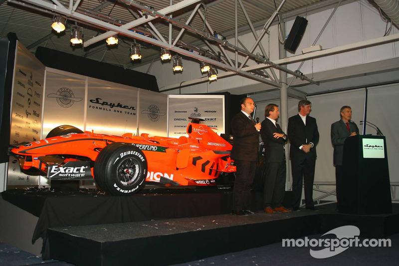 Colin Kolles, Spyker F1 Team, Team Principal, Michiel Mol, Director of Formula One Racing, Spyker and Spyker F1 Team, Victor Muller, Chief Executive Officer of Spyker Cars N.V. and Spyker F1 Team and Tony Jardine