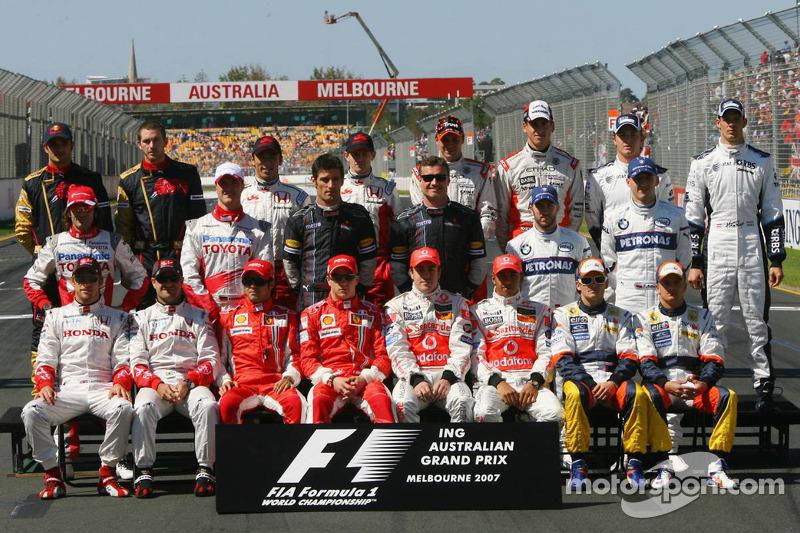 Familiefoto: de klas van 2007 in de Formule 1