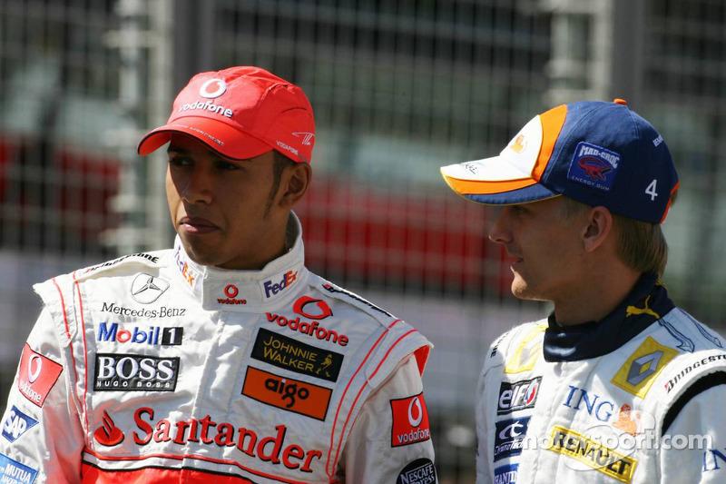 Lewis Hamilton, McLaren Mercedes et Heikki Kovalainen, Renault F1 Team