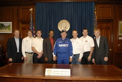 Rusty Wallace, David Ragan, Chase Miller, Bill Lester, Georgia governor Sonny Perdue, Kevin Harvick, Joey Clanton and Steve Wallace pose for a photo at the Georgia State Capitol