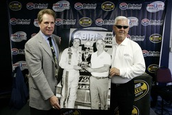 Honorary starter Darrell Waltrip and grand marshal Junior Johnson pose for a photo