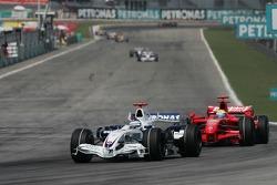 Nick Heidfeld, BMW Sauber F1 Team, F1.07 and Felipe Massa, Scuderia Ferrari, F2007