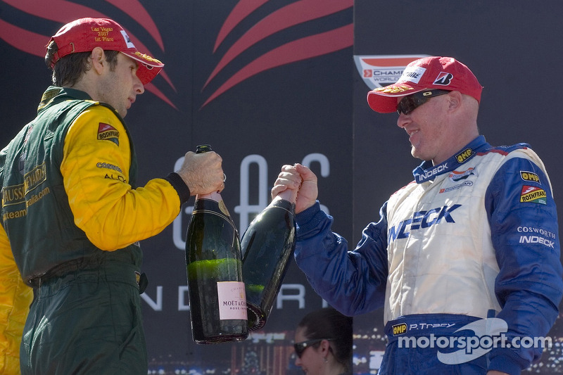 Paul Tracy and Will Power celebrate