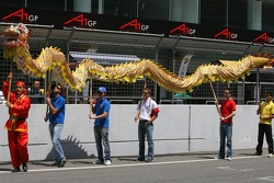 A1GP drivers with a dragon