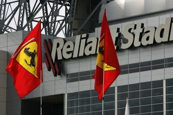 Ferrari flags in front of the Reliant Stadium