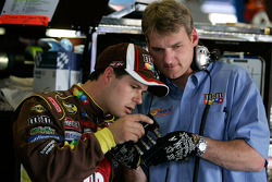 David Gilliland talks with engine builder Doug Yates